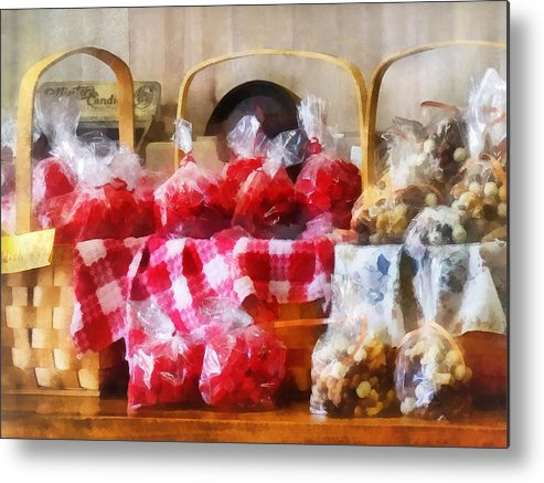 Candy Metal Print featuring the photograph Licorice And Chocolate Covered Peanuts by Susan Savad