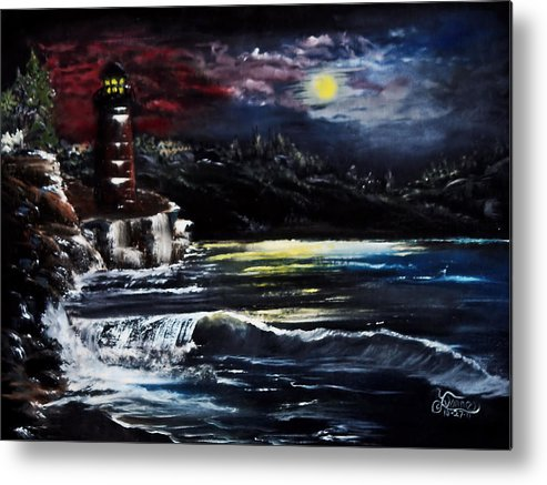 Night Metal Print featuring the painting Light In The Night by Darlene Bell