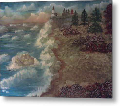 Landscape Metal Print featuring the painting Lighthouse by Tammy Kiser