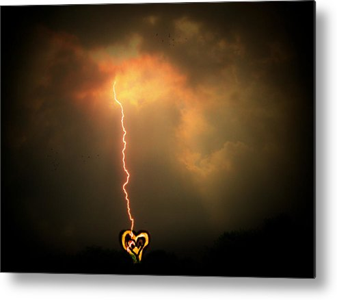 Lightning Metal Print featuring the photograph Lightning Strikes The Heart by Trish Tritz