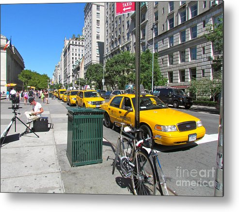 Taxis Metal Print featuring the photograph Lined Up For Business by Randi Shenkman