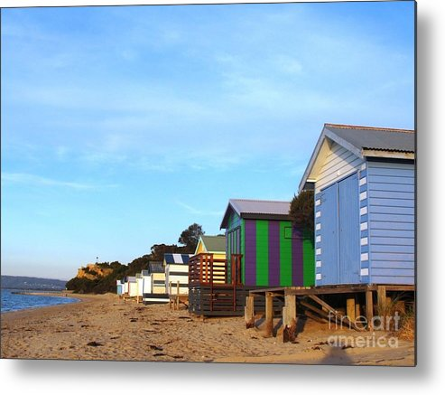 Boatsheds Metal Print featuring the photograph Little Boatsheds In A Row by Therese Alcorn