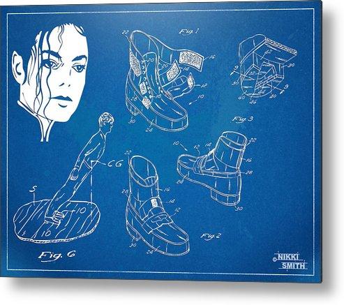 Michael Jackson Metal Print featuring the digital art Michael Jackson Anti-gravity Shoe Patent Artwork by Nikki Marie Smith