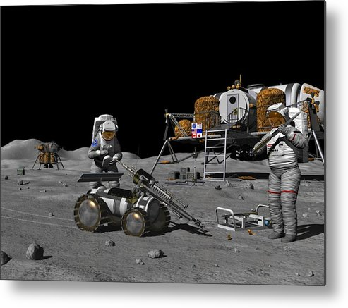 Equipment Metal Print featuring the photograph Moon Exploration, Artwork by Walter Myers