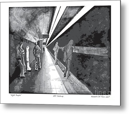 Night Metal Print featuring the painting Night People In Black And White by Kenneth De Tore