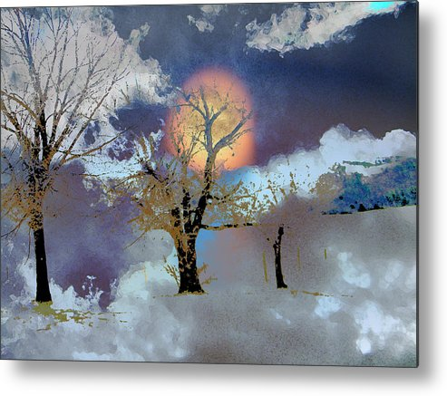 Abstract Metal Print featuring the photograph November Moon by Lenore Senior