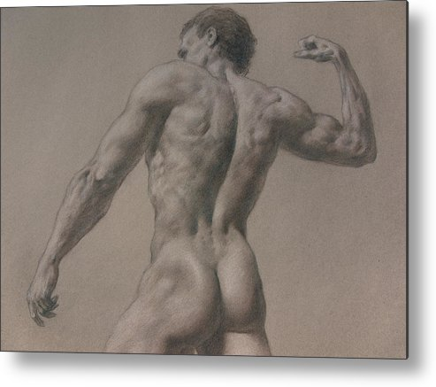 Man Metal Print featuring the drawing Nude - 8 A by Valeriy Mavlo