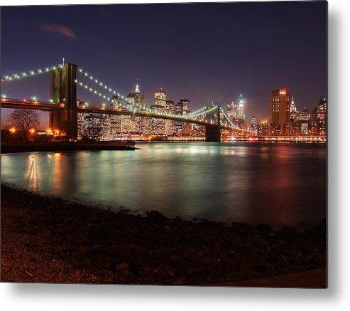 Ny Metal Print featuring the photograph Nyc Brooklyn Nights by Nina Papiorek