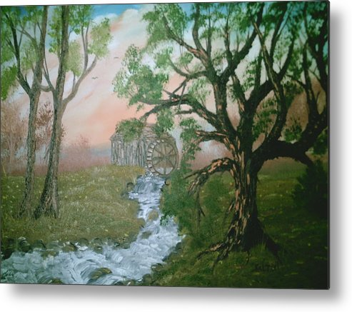 Rivers Strems Metal Print featuring the painting Old Mill by Jim Saltis