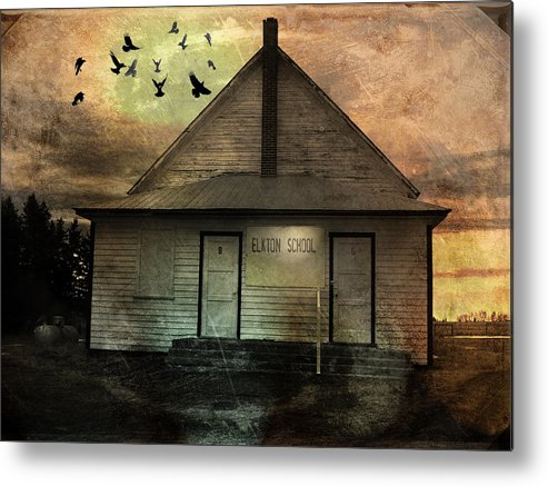 Building Metal Print featuring the mixed media Old School by Janet Kearns