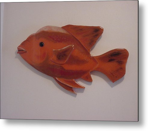 Fish Metal Print featuring the mixed media Orange Fish by Val Oconnor