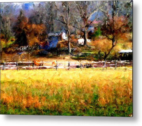 Farm Metal Print featuring the digital art Our View by Marilyn Sholin