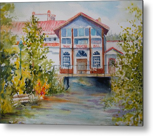 Watercolor Metal Print featuring the painting Park Theatre Mall by Pamela England