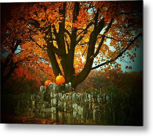 Autumn Metal Print featuring the photograph Pumpkins On The Wall by Joyce Kimble Smith