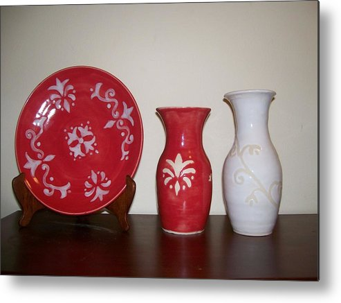 Red Metal Print featuring the ceramic art Red And White by Monika Hood