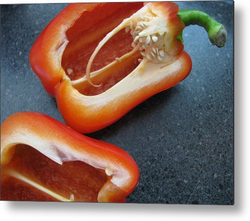 Food Metal Print featuring the photograph Red Bell Peppers by Penny Anast