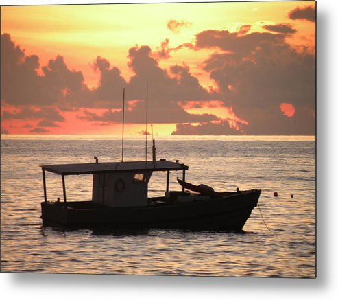 Red Metal Print featuring the photograph Red Boat by Peter Panagos