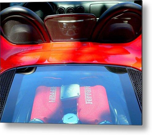 Ferrari Metal Print featuring the photograph Red Ferrari Engine by Jeff Lowe
