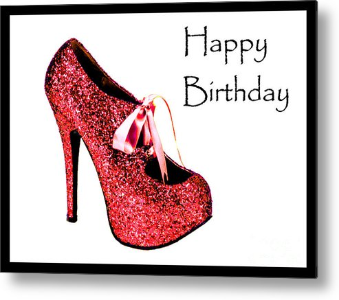 Glitter Shoe Card Keys:   Stiletto Framed Prints Metal Print featuring the photograph Red Glitter Pump by Maralaina Holliday