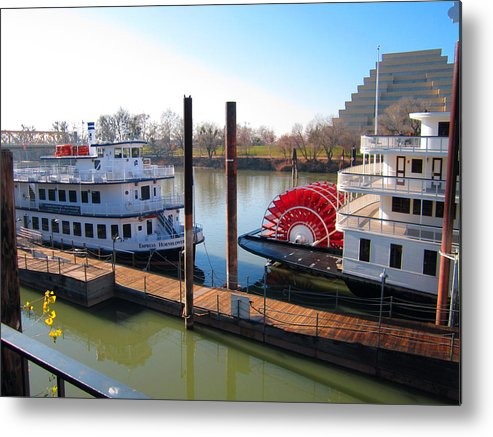 Old Town Sacramento Metal Print featuring the photograph Riverboats by Barry Jones