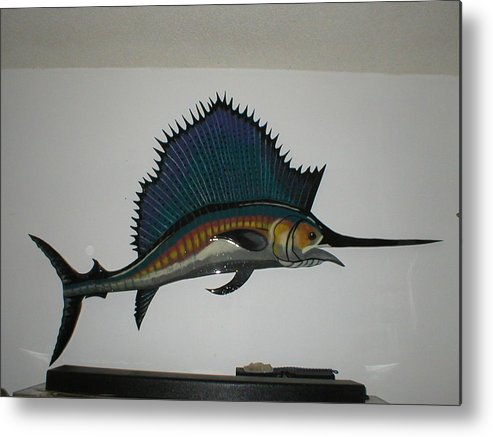 Sailfish Metal Print featuring the mixed media Sailfish by Val Oconnor