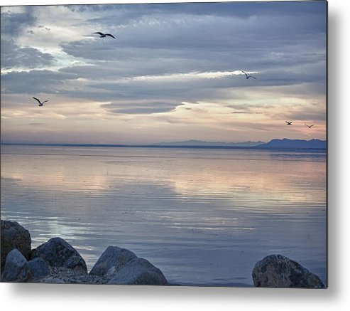 Sunset Metal Print featuring the photograph Salton Sea Sunset by Linda Dunn