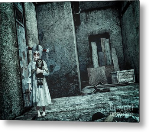 3d Metal Print featuring the digital art Scary Place by Jutta Maria Pusl