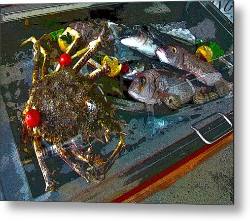 Fish Metal Print featuring the photograph Seafood In Opatija -1 by Rezzan Erguvan-Onal