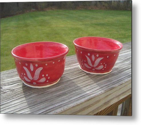 Bowl Metal Print featuring the ceramic art Set Of Small Red Bowls by Monika Hood