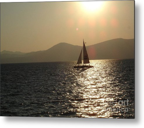 Landscape Metal Print featuring the photograph Single Sailboat by Silvie Kendall