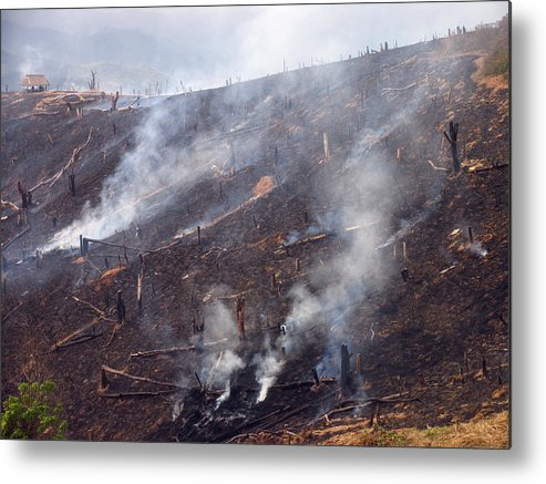 Smoke Metal Print featuring the photograph Slash And Burn Agriculture by Bjorn Svensson