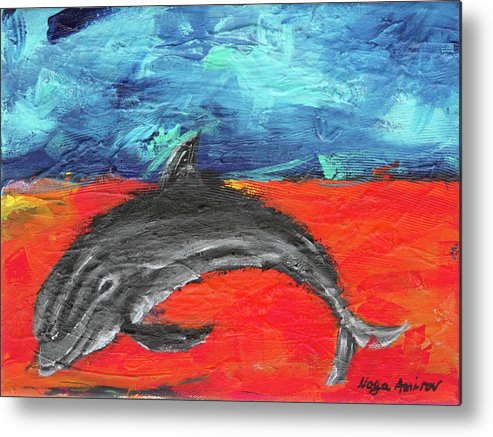Dolphin Metal Print featuring the painting Something Good by Noga Ami-rav