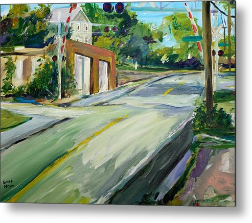 Millbury Metal Print featuring the painting South Main Street Train Crossing by Scott Nelson