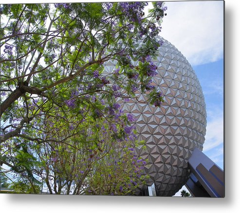 Famous Places Metal Print featuring the photograph Spaceship Earth Epcot Center by Judy Wanamaker
