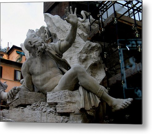 Venice Metal Print featuring the relief Statue At Piazza by Suhas Tavkar