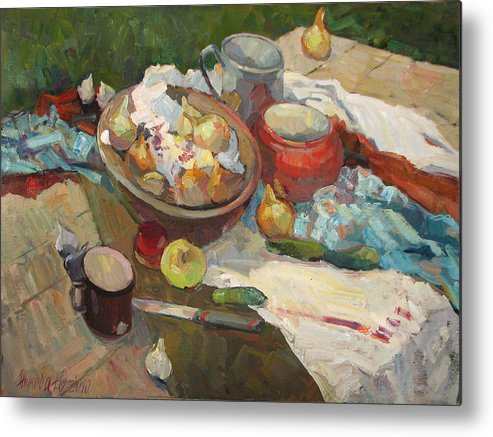 Still Life With Vegetables Metal Print featuring the painting Still Life With Onions And Cucumbers by Juliya Zhukova