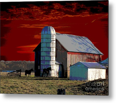 Sundown On The Farm Metal Print featuring the digital art Sundown On The Farm by Jimi Bush