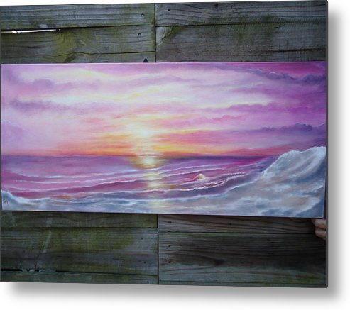 Sunset On Gallery Wrap Metal Print featuring the painting Sunnyside Beach by April Murray