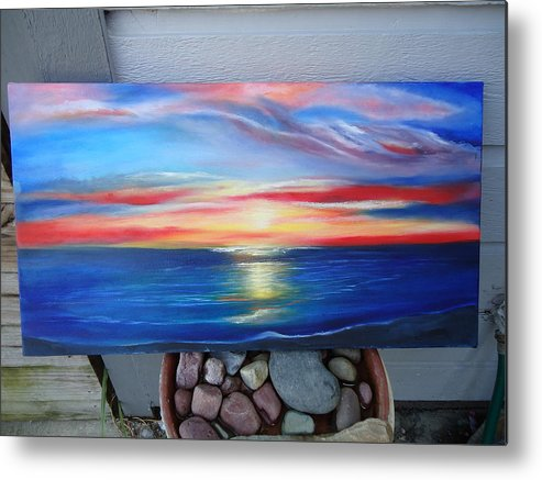 Sunset And Stone Oil Pianting Metal Print featuring the painting Sunset And Stone by April Murray