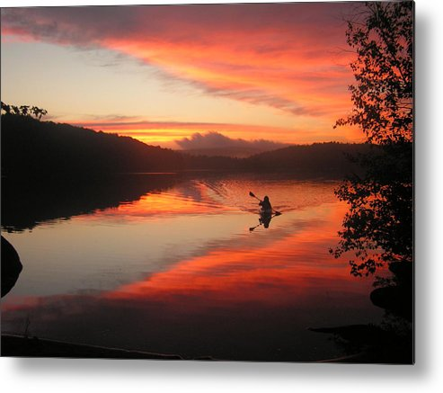 Kayak Metal Print featuring the photograph Sunset Solitude On Lake Eastman by Terry Joyce