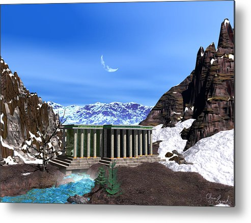 Landscape Metal Print featuring the digital art Temple Gate by Christopher Lynch