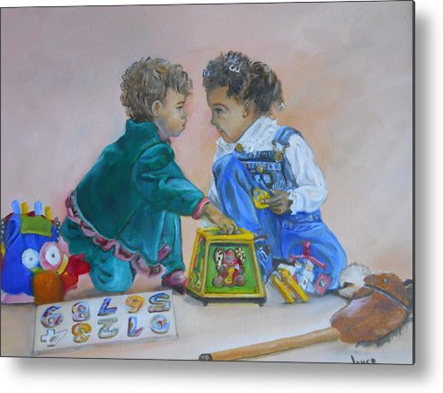 Children Metal Print featuring the painting That's Mine by Joyce Reid