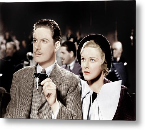 1930s Movies Metal Print featuring the photograph The 39 Steps, From Left Robert Donat by Everett