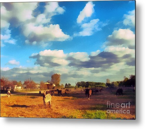 Odon Metal Print featuring the painting The Farm by Odon Czintos