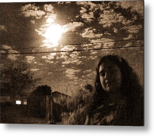 Sepia Metal Print featuring the photograph The Moon And The Girl by Beto Machado