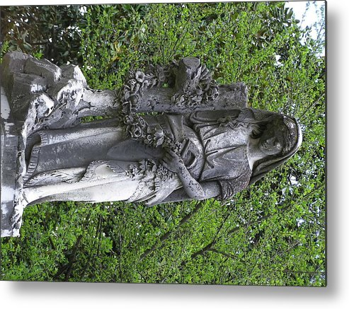 Statue Metal Print featuring the photograph The Mourner by Andrea Drake