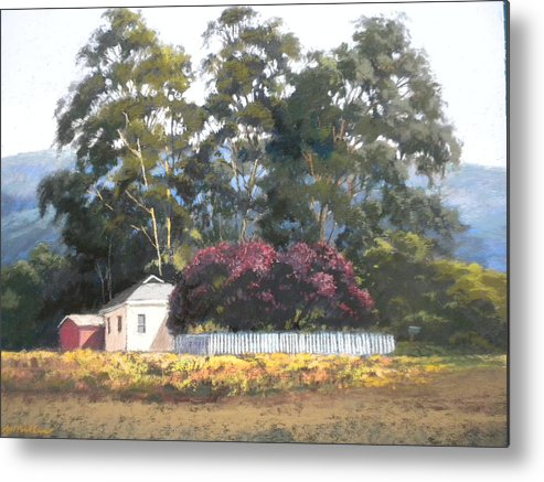 Landscape Metal Print featuring the painting The Plum Trees by Maralyn Miller