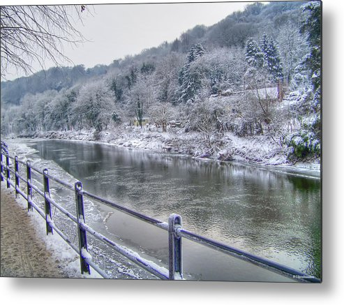 River Severn Metal Print featuring the photograph The River Severn In Ironbridge Frozen During Winter II by Sarah Broadmeadow-Thomas