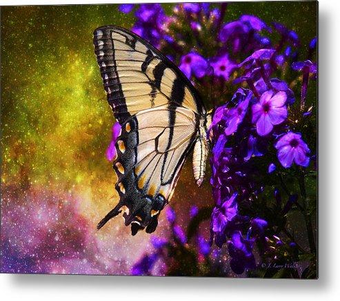 J Larry Walker Metal Print featuring the digital art Tiger Swallowtail Feeding In Outer Space by J Larry Walker