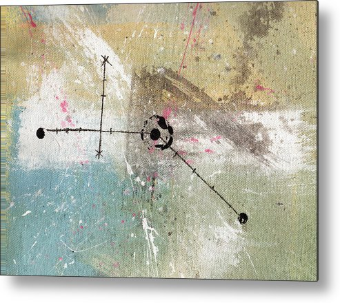 Abstract Metal Print featuring the painting Time And Space 1 by Mark M Mellon